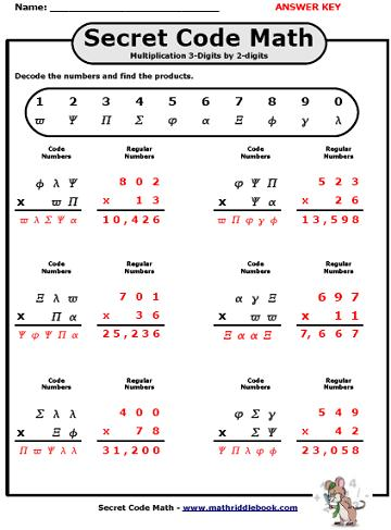 Secret Code Math Worksheets - Adding, Subtracting, Multiplying